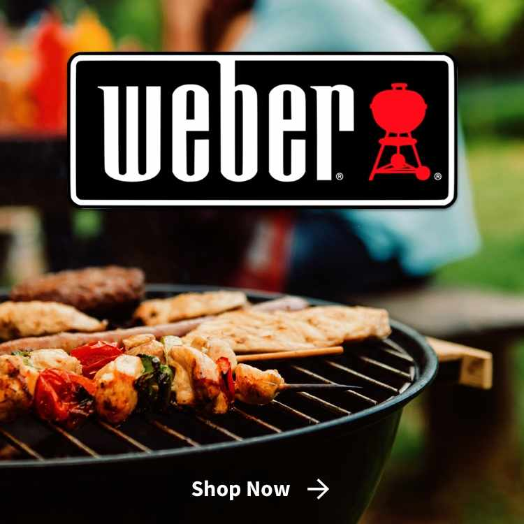 Weber Grills logo with food cooking on grill up close