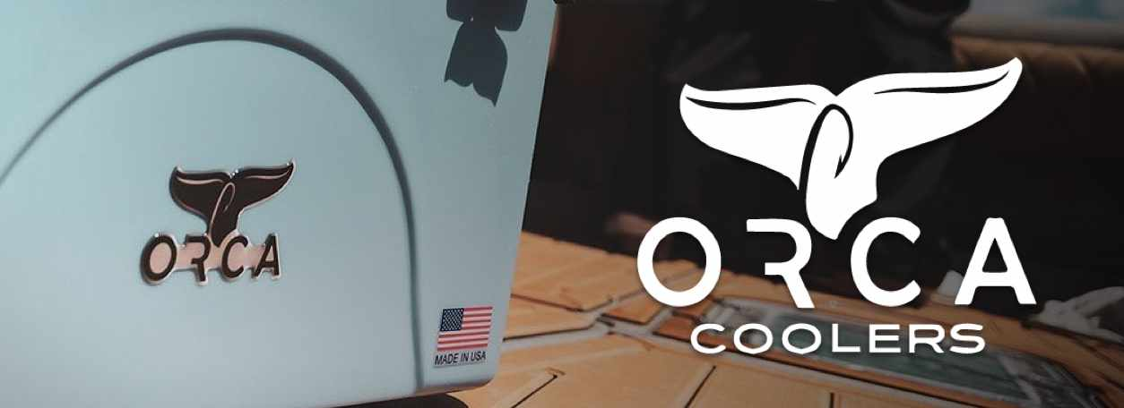 Orca Coolers logo with Orca Cooler in background