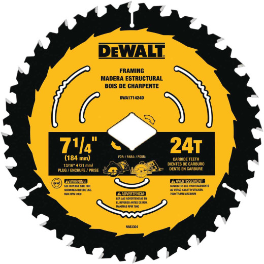 DeWalt ToughTrack 7-1/4 In. 24-Tooth Framing Worm Drive Circular Saw Blade, Bulk